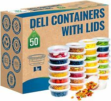 50 Pack 8 oz Durable Deli Food/Soup Plastic Containers w/ Lids and Airtight