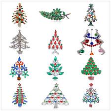 Party Holiday Bridal Brooch gift Rhinestone Crystal Xmas Christmas Tree Pin
