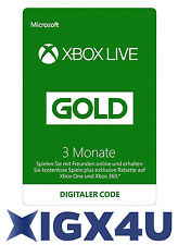 Xbox One XBOX 360 LIVE GOLD Mitgliedschaft 3 Monate Karte Code / 3 Month Card!★★