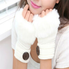 Fashion Women's Cute Knitted Fingerless Winter Gloves Soft Warm Mittens MW