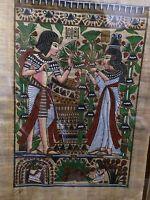 "Egyptian Hand-painted Papyrus Artwork: King Tut & Queen Wedding Scene 9"" x 13"""