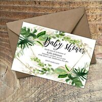 Personalised Baby Shower Invitations GREENERY LEAVES AND GOLD EFFECT PACKS OF 10