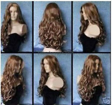 fine long brown curly fashion health wavy hair lady wig wigs for women