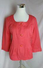NWT TALBOTS Jackie Fit Pin Tuck Pink 3/4 Sleeves Jacket Cropped Blazer Sz 10P