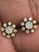 Pave 0,93 Cts Runde Brilliant Cut Diamanten Ohrstecker In 585 Feine 14K Gelbgold