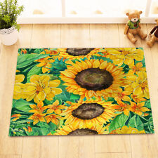 Hand Painted Green Leaves Sunflowers Kitchen Bathroom Bath Door Mat Bathmat Rug