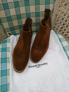 Mens Russell And Bromley Billington brown suede Chelsea boots size UK 6