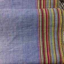 CRATE & BARREL ARUBA Runner BLUE Multi Color Stripe Border 14 X 108 100% Cotton