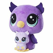 Littlest Pet Shop Plush Pairs Owl Owlette Figure Mom Baby Set Lilac Nocturna New