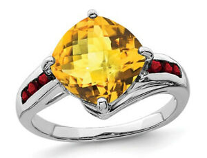 Natural Citrine Ring in Sterling Silver with Garnets
