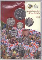 UK UNITED KINGDOM – 10 DIF BU COINS SET: 0.01 - 5 POUND 2012 YEAR MINT PACK