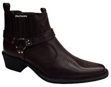 US Brass Mens Cowboy American Original Retro Ankle Slip On Boots Cuban Heel New