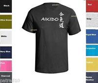 Aikido T-shirt Japanese Martial Art Combat Fighting Shirt  SZ S-5XL