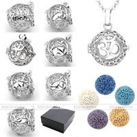 Lava Rock Stone Gemstone Locket Essential Oil Diffuser Pendant Necklace Chain