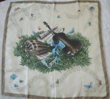 Women's vintage Scarf Beige Violin Symphony Musical Notes Handrolled silk