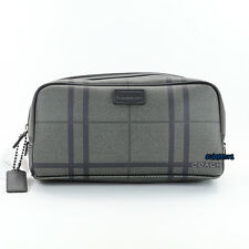 NWT Men's Coach Tattersall Toiletry Case Shaving Travel Kit Bag F93280 Grey NEW