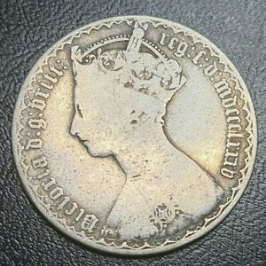 1885 Florin Coin Gothic Two Shillings Great Britain Sterling Silver Victoria