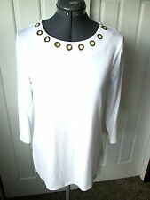 MICHAEL MICHAEL KORS Lg White Embellished Grommet Neckline Hi Low TUNIC TOP  NWT
