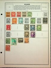 ECUADOR: 134 STAMPS ON SEVERAL VINTAGE HARRIS PAGES AND STOCK SHEETS