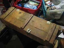 Vintage Wooden Cannon Ammunition Crate Case Box w/ Rope Handles 105mm