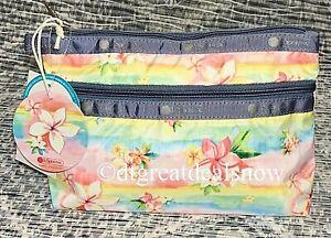 NWT LeSportsac Cosmetic Clutch Plumeria Rainbow Hawaiian Exclusive 7105 K879