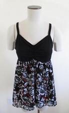 NEW B5 Torrid 0 14 0X 1X black white red roses empire waist babydoll shirt top