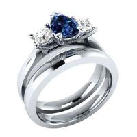 Certified 3.60Ct Pear Cut Blue Sapphire & Diamond 14k Gold Engagement Ring set