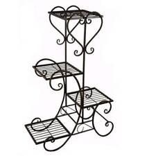4 Tier Metal Plant Stand Flower Pot Holder Display Rack Iron Shelf Black Balcony