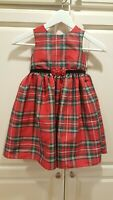 Laura Ashley Red Plaid Dress Girls Size 4 y