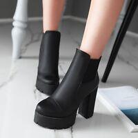 Women's Round Toe Chukka High Chunky Heel Platform Zip Punk Combat Ankle Boots