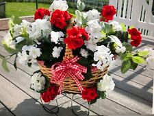 Red and White Geraniums Basket Headstone Cemetery Grave Tombstone Saddle