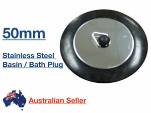 Kinetic 50mm Stainless Steel Basin Sink Bath Plug Rubber Black Waste Insert NEW