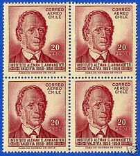 CHILE, KARL ANWANDTER, 100th. ANNIV. GERMAN INST., BLOCK OF FOUR, YEAR 1959, MNH