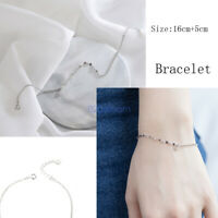 925 Sterling Silver Curb Link Chain Adjustable Fashion Jewelry Bracelet Italy
