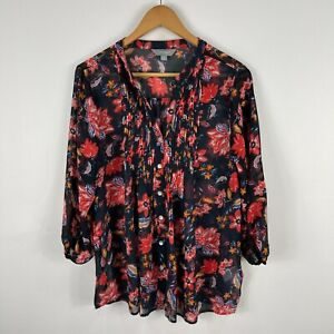 Suzannegrae Womens Blouse Top 14 Multicoloured Floral Long Sleeve V-Neck