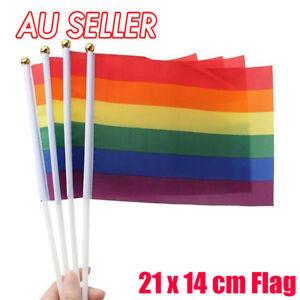 Hand Waving Small Rainbow Gay Lesbian LGBT Flag 14 x 21cm Pride Flags Mardi Gras