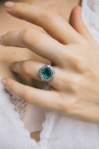 Green Emerald 925 Sterling Silver Square Art Deco Vintage Style Ring for Women