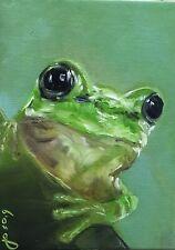 Original Oil Painting, Animals, LITTLE FROG 5x7