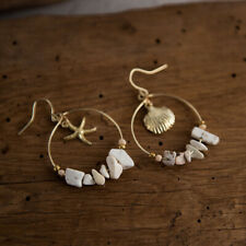 Women Korean Vintage Sea Shell Starfish Stone Beads Round Dangle Drop Earrings U