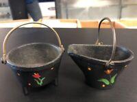 Wilton Kettle & Coal Bucket Vintage Cast Iron Lot X 2 Excellent