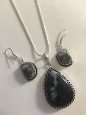 Sodalite  Pendant/NECKLACE WITH CHAIN & Earrings Set-N7789