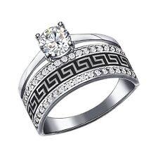MIRKADA Damen 925 Sterling Silber Ring mit Emaille und SWAROVSKI Gr. 54 NEU
