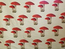 TEX EX ORIGINAL TOADSTOOL COLLECTOR LINEN MUSHROOM RED NATURAL UK CURTAIN FABRIC