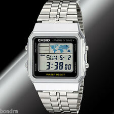 Casio A500WA-1A  Steel Band Digital Watch World Time 5 Alarms LED Backlight