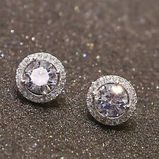 new Women Sanwood Nice Crystal Zircon Inlaid Ear Stud Platinum Plated Earrings