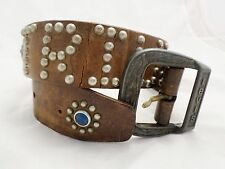 TRIUMPH LEVI'S true vintage brown studded leather motorcycle jeans belt 28 30