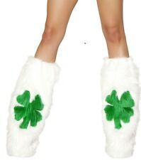 Fluffy Furry Shamrock Leg Warmers Fluffies PLUR Rave Wear Accessory fnt