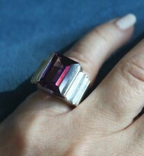 Chunky Vintage Modernist PURPLE Emerald Cut AMETHYST SIZE 5 Sterling Silver RING