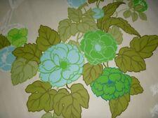 "NOS Vtg Mid Century Drapery Fabric Green Aqua LARGE Floral Design 47""x 10+ Yards"