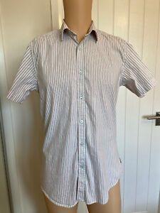 "Ted Baker Casual Mens Shirt Short Sleeve 3 White Orange Stripe 20"" S Small XS"